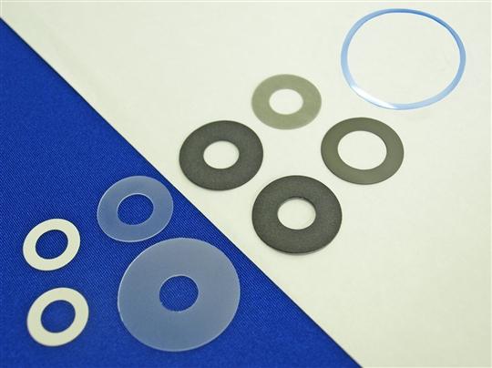 樹脂、ファイバー紙などのワッシャー加工品